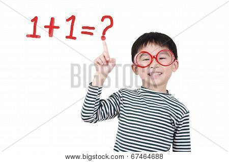 Smart cute boy thinking math question on white background