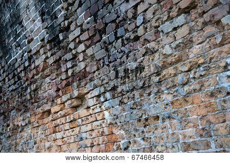 Metal bars in brick wall