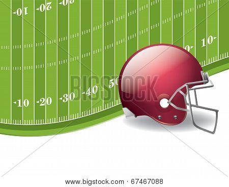 American Football Field And Helmet Background