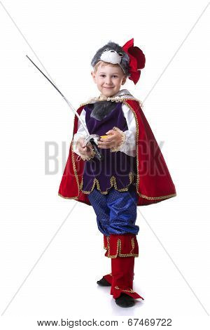 Image of funny little boy posing as Puss in Boots