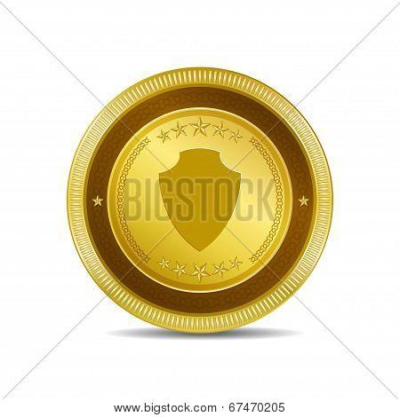 Shield Circular Vector Gold Web Icon Button