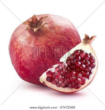 Whole Pomegranate And Quarter Slice Isolated On White Background