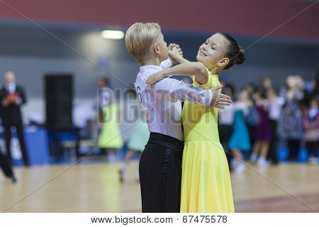 Minsk-belarus, February, 23: Unidentified Dance Couple Performs Juvenile-1 Standard European Program