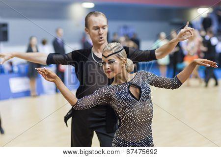 Minsk-belarus, February, 23: Unidentified Dance Couple Performs Youth-2 Latin-american Program On Op