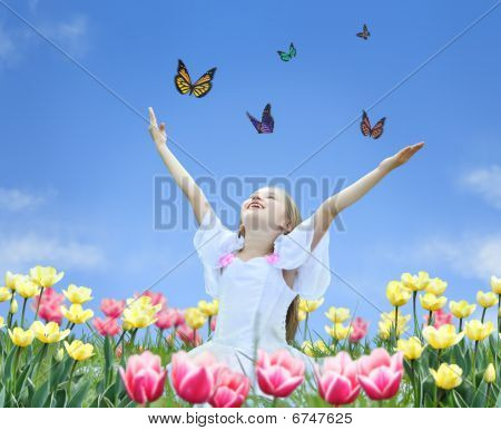 Little Girl In Tulips With Hands Up And Butterfly Collage