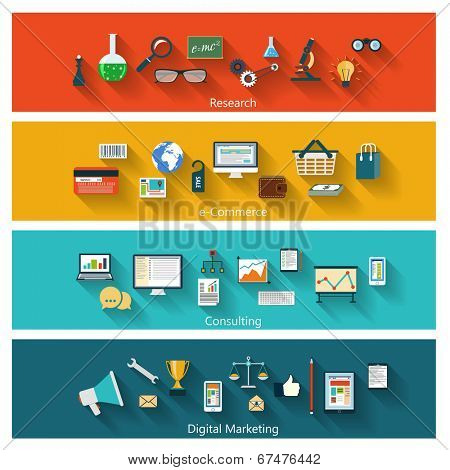 Set of modern banners in flat design with long shadows and trendy colors for web, book covers, corporate brochures, logos, mobile applications, business, social networks etc. Vector eps10 illustration