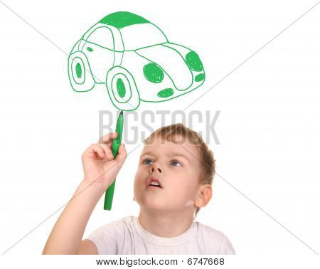 Child Drawing His Car, Collage