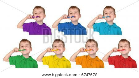 Boys In Iridescent Sports Shirts Show With The Toothbrush