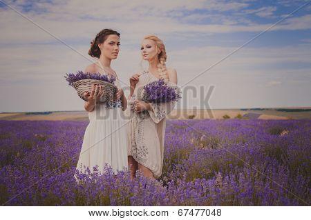 romantic portrait of two beautiful women on the lavender field