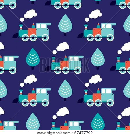 Seamless kids blue retro style steam toy train illustration background pattern in vector