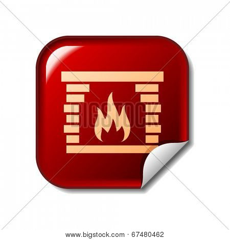 Fireplace icon on red web sticker