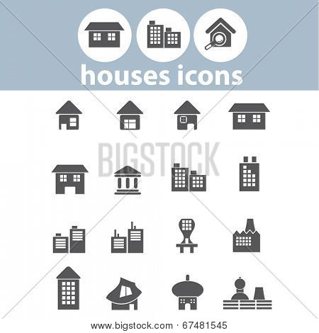 houses, buildings, city, urban, factory icons, signs set, vector