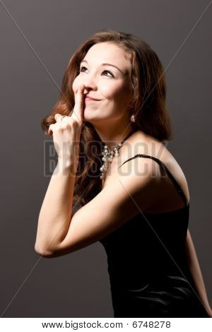 young caucasian cute emotional woman with hist sign