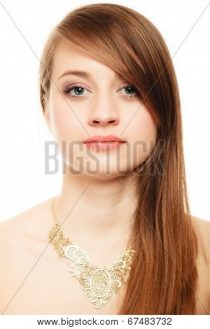 Portrait Of Girl With Bang Covering Eye In Golden Necklace