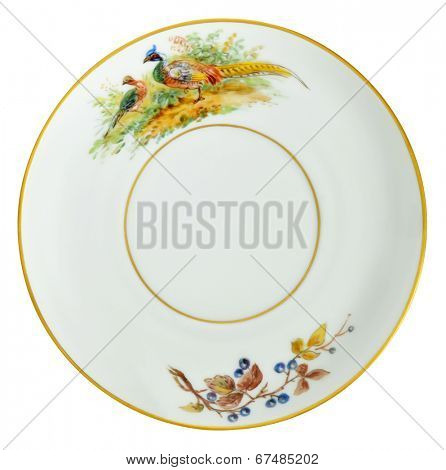 An old over hundred fifty years old porcelain saucer decorated with hand painting. Gold plated rings.