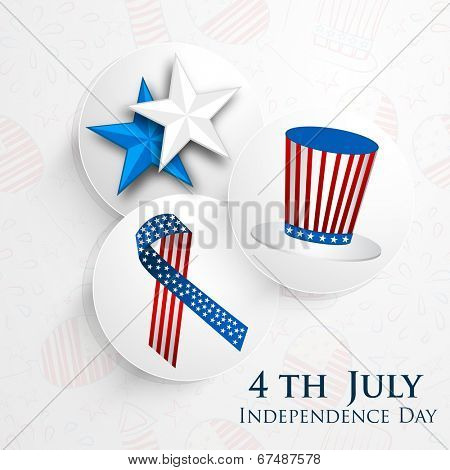 Stylish sticky set with silver stars, Anti Aids sign ribbon and long hat on grey background for 4th of July, American Independence Day celebrations.