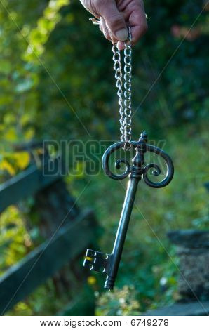 Old Big Key With Chain And Hand