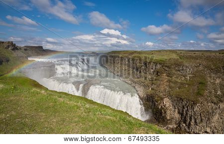 Waterfall Gullfoss and rainbow, Iceland
