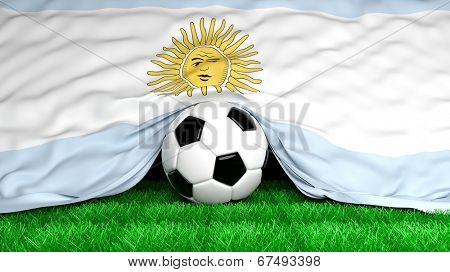 Soccer ball with Argentinian flag on football field closeup