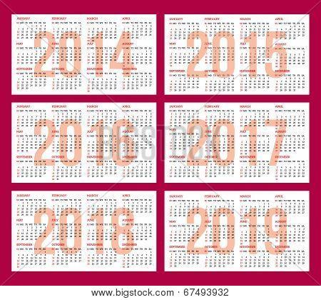 Calendar Grid 2014, 2015, 2016, 2017, 2018, 2019