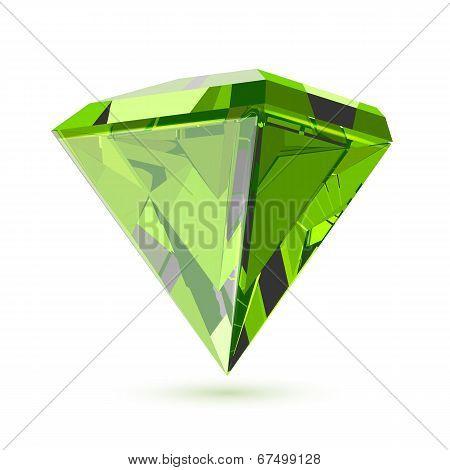 Shining transparent diamond isolated on white.