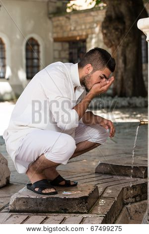 Islamic Religious Rite Ceremony Of Ablution Mouth Washing