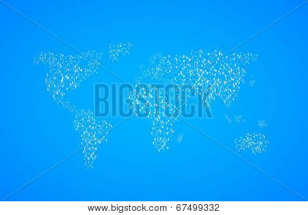 World Map Illustration with people, easy all editable