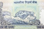 stock photo of indian currency  - himalayan mountains depicted on a indian currency note - JPG