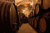 image of vault  - Wooden barrels with wine in a wine vault Italy - JPG