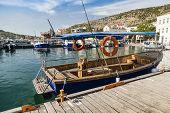 foto of ski boat  - Pleasure boat moored in the bay of Balaklava - JPG