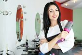 picture of beauty parlour  - Beautiful woman hairdresser in beauty salon - JPG