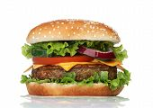 stock photo of hamburger  - Big tasty hamburger isolated on white background - JPG