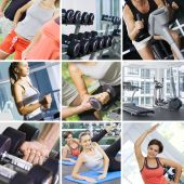 pic of fitness  - fitness theme photo collage composed of few images - JPG