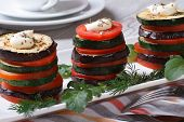 picture of brinjal  - appetizer of zucchini tomatoes and aubergines baked with dill closeup horizontal - JPG