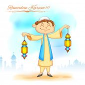 foto of eid ka chand mubarak  - illustration of kid holding colorful lantern for Eid celebration - JPG