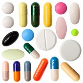 stock photo of antibiotics  - Different colored medicine and types of pills isolated on a white background - JPG