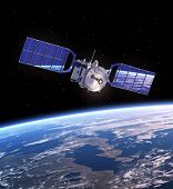 picture of solar battery  - Space Satellite Orbiting Earth - JPG