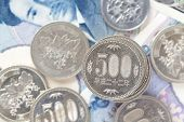 foto of japanese coin  - money currency image of 500 japanese yen coin - JPG