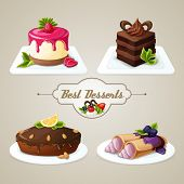 pic of crepes  - Decorative sweets food best dessert set of crepes cheesecake layered cake with syrup vector illustration - JPG
