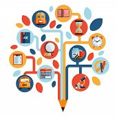 pic of time study  - Tree with education icons studying knowledge symbol vector illustration - JPG