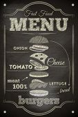 stock photo of beef-burger  - Burger Menu Poster on Chalkboard - JPG