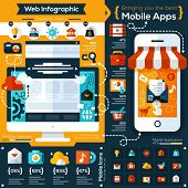 stock photo of internet icon  - set of flat design illustrations and flat icons for mobile phone and web apps - JPG