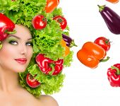 picture of vegetarian meal  - Beauty girl with Vegetables hair style - JPG