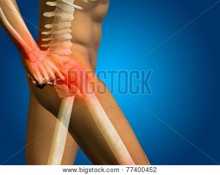 Conceptual 3D human man anatomy or health design, joint or articular pain, ache or injury on blue background