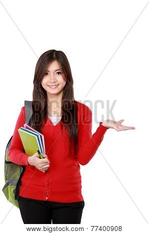 Female Student Pointing Up