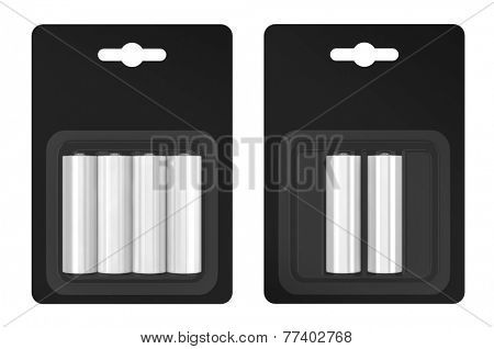 Battery AA blister packed isolated on white background