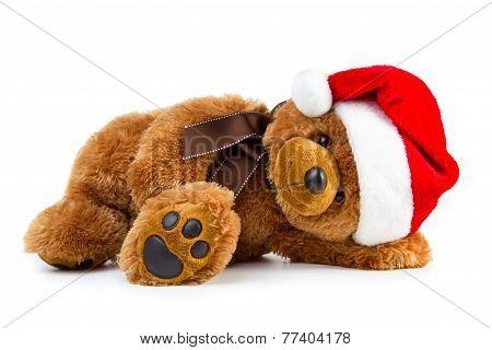 Toy Teddy Bear Wearing A Santa Hat