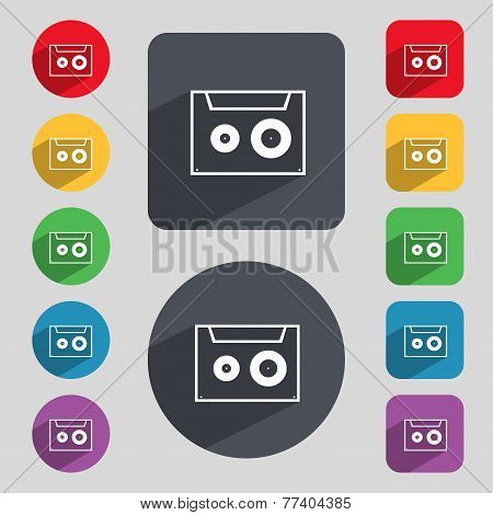 cassette sign icon. Audiocassette symbol. Set of colour buttons. Vector