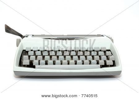 Blue Typewriter Isolated On The White Background