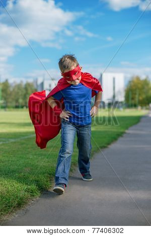 Superhero Running Forward And Jumping